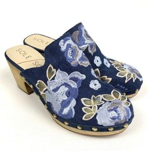 SOLE SOCIETY MADELINA 2 CLOG Embroidered Size 7M